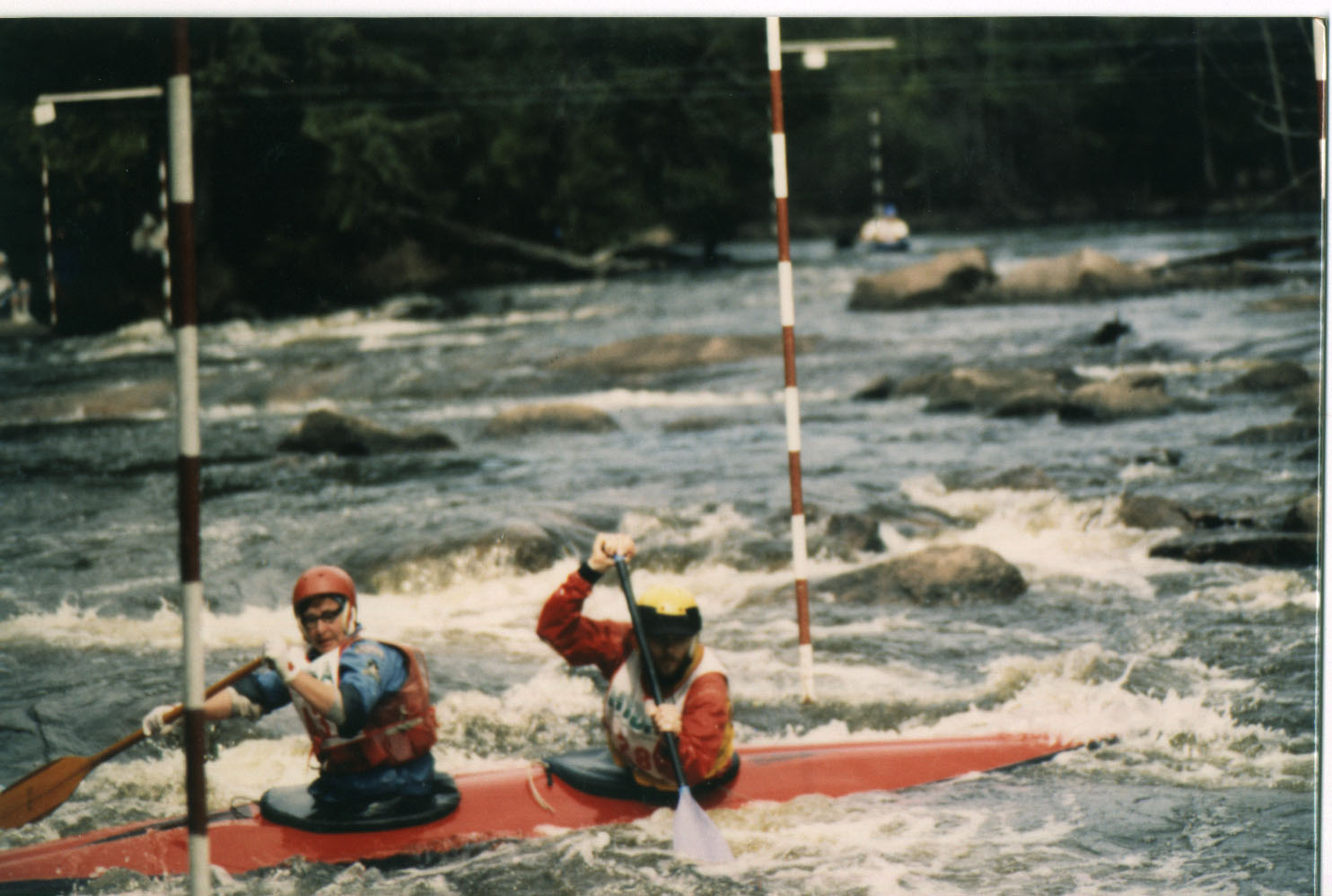 Marge and Rich running a Wolf Slalom Course.