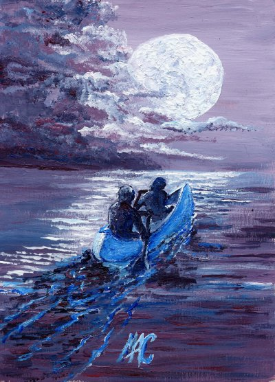 moon and canoe acrylic