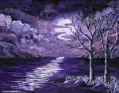 purple moon acrylic